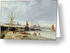 The Docks On The Bank At Greenwich  Greeting Card