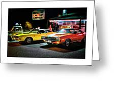 The Dodge Boys - Cruise Night At The Sycamore Greeting Card by Thomas Schoeller