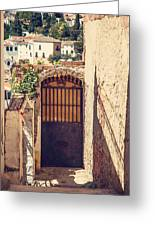 The Door With Overview Of Ronda Greeting Card