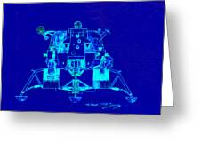 The Eagle Apollo Lunar Module In Blue Greeting Card