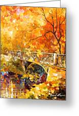 The Embassay Of Autumn - Palette Knife Oil Painting On Canvas By Leonid Afremov Greeting Card