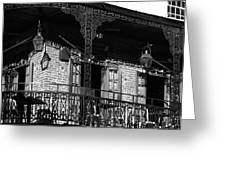 The Embers Bourbon House Restaurant In Black And White Greeting Card
