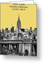 The Empire State Building Pantone Lemon Greeting Card by John Farnan