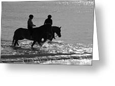 The Equestrians-silhouette V2 Greeting Card