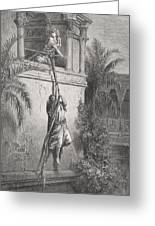 The Escape Of David Through The Window Greeting Card by Gustave Dore
