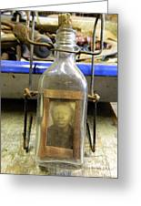 The Face In The Bottle  Greeting Card