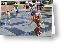Joyful Young Girl Playing In Fountain Greeting Card