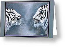 The Face Off Greeting Card by Andrea Camp
