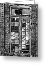 The Factory Window Bw Greeting Card