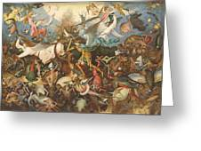 The Fall Of The Rebel Angels, 1562 Oil On Panel Greeting Card