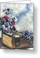 The Family Bible Graced By Anemones Greeting Card