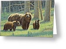 The Family - Black Bears Greeting Card by Paul Krapf