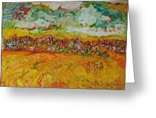 The Farmland Oil On Canvas Greeting Card
