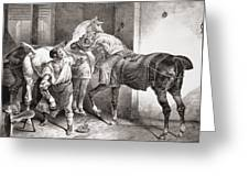 The Farrier, From Etudes De Cheveaux Greeting Card