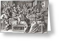 The Feast, After A 17th Century Engraving By N. De Bruyn.  From Illustrierte Sittengeschichte Vom Greeting Card