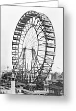 The Ferris Wheel At The Worlds Columbian Exposition Of 1893 In Chicago Bw Photo Greeting Card