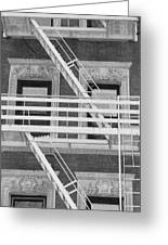 The Fire Escape In Black And White Greeting Card