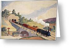 The First Paris To Rouen Railway, Copy Greeting Card by French School