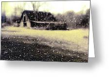 The First Snow Fall On The Old Barn Greeting Card by Lisa  Griffin