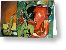 The Fish Juggler In The White Hat In Candlelight Greeting Card by Charlie Spear