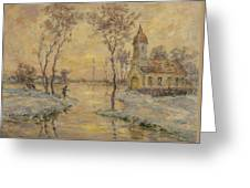 The Fishermens Chapel Under Snow Greeting Card