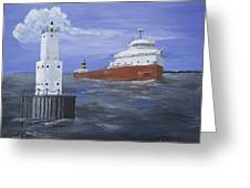 The Fitz Departs Escanaba Greeting Card