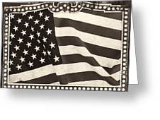 The Flag Bw Greeting Card