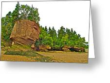 The Flowerpots At Hopewell Rocks On Bay Of Fundy-new Brunswick Greeting Card