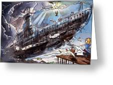 The Flying Submarine Greeting Card
