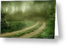 The Foggy Road Greeting Card