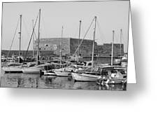 The Fortress And The Port In Iraklio City Greeting Card