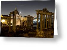 The Forum Temples At Night Greeting Card