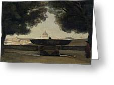 The Fountain Of The French Academy In Rome, 1826-27 Oil On Canvas Greeting Card