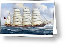 The Four-masted Barque Cedarbank At Sea Under Full Sail Greeting Card