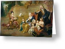 The Franqueville Family, 1711 Oil On Canvas Greeting Card