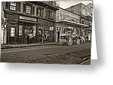 The French Quarter Sepia Greeting Card