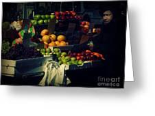 The Fruit Seller - New York City Street Scene Greeting Card