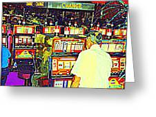 The Gambler Meets The One Armed Bandit In Casino Royale Standoff At High Noon Urban Casino Art Scene Greeting Card