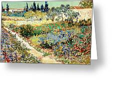 The Garden At Arles, 1888 Greeting Card