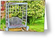 The Garden Bench In Spring  Greeting Card