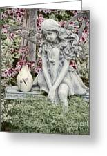 The Garden Fairy Greeting Card by Peggy Hughes