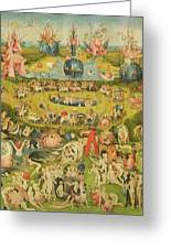 The Garden Of Earthly Delights Allegory Of Luxury, Central Panel Of Triptych, C.1500 Oil On Panel Greeting Card