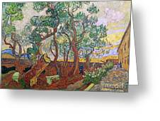 The Garden Of St Pauls Hospital At St. Remy Greeting Card by Vincent Van Gogh
