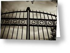 The Gate In Sepia Greeting Card