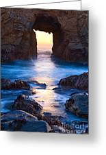 The Gateway - Sunset On Arch Rock In Pfeiffer Beach Big Sur In California. Greeting Card by Jamie Pham