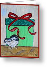 The Gift - Christmas Chickadee Whimsical Painting By Ella Greeting Card