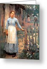 The Girl At The Gate Greeting Card