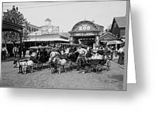 The Goat Carriages Coney Island 1900 Greeting Card