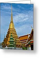 The Golden Chedis At Grand Palace Of Thailand In Bangkok Greeting Card
