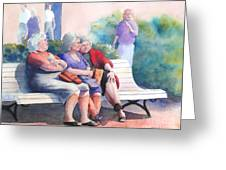 The Gossip Bench Greeting Card